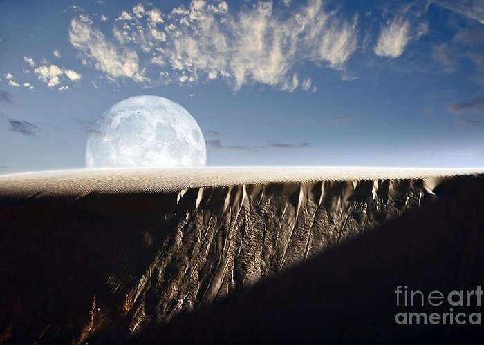 Rising Greeting Card featuring the digital art Full Moon Rising Above A Sand Dune by Roth Ritter