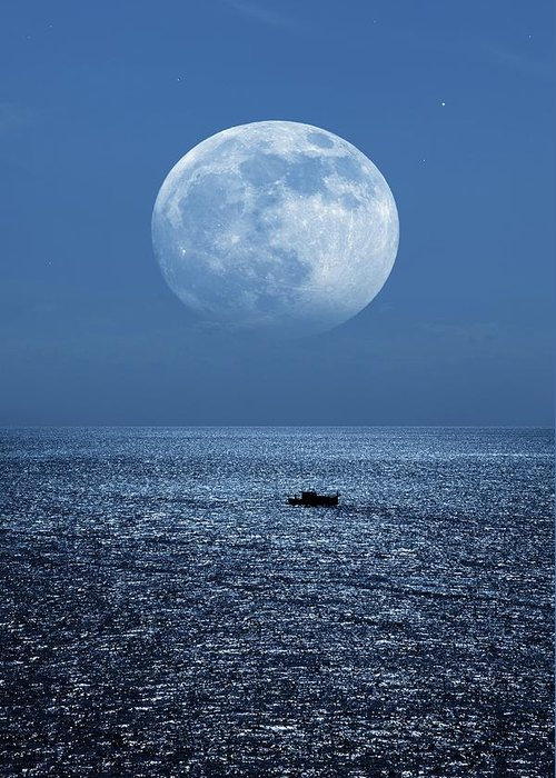 Moon Greeting Card featuring the photograph Full Moon Rising Over The Sea by Detlev Van Ravenswaay