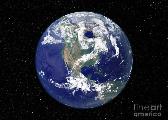 Color Image Greeting Card featuring the photograph Fully Lit Earth Centered On North by Stocktrek Images