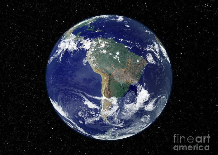 Color Image Greeting Card featuring the photograph Fully Lit Earth Centered On South by Stocktrek Images