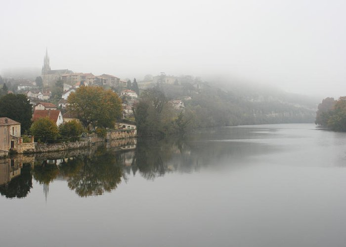 River Greeting Card featuring the photograph Fumel On A Misty Day by Georgia Fowler
