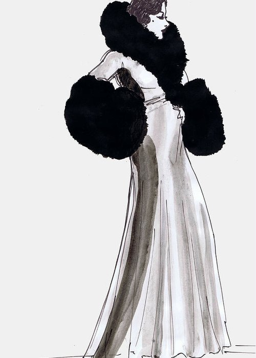 Nostalgia Greeting Card featuring the drawing Fur Coat by Mel Thompson