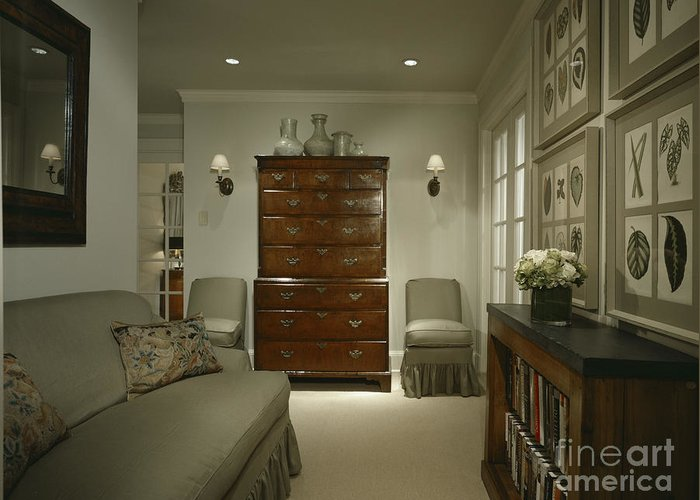 Architectural Detail Greeting Card featuring the photograph Furniture In Upscale Home by Robert Pisano