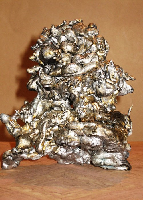 Aluminum Silver Fusion Sculpture Greeting Card featuring the sculpture Fusion by Patricia Bertisch
