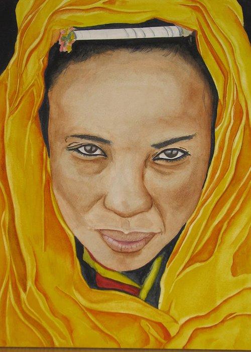 Gabbra Woman Greeting Card featuring the painting Gabbra Woman In Yellow by Emmanuel Turner