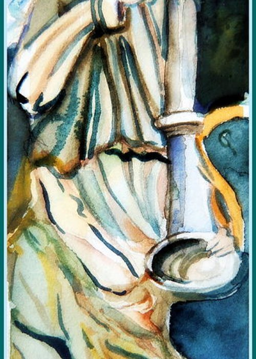 Gabriel Greeting Card featuring the painting Gabriel by Mindy Newman