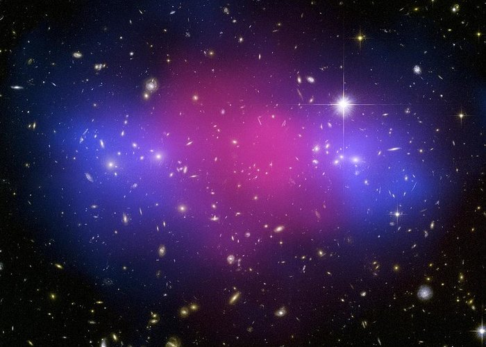 Macs J0025.4-1222 Greeting Card featuring the photograph Galaxy Cluster Collision, X-ray Image by Nasaesacxcstscim. Bradac And S. Allen