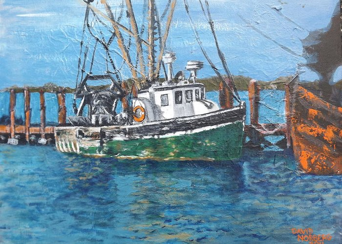 Boat Greeting Card featuring the painting Galilee Early March by Dave Norberg