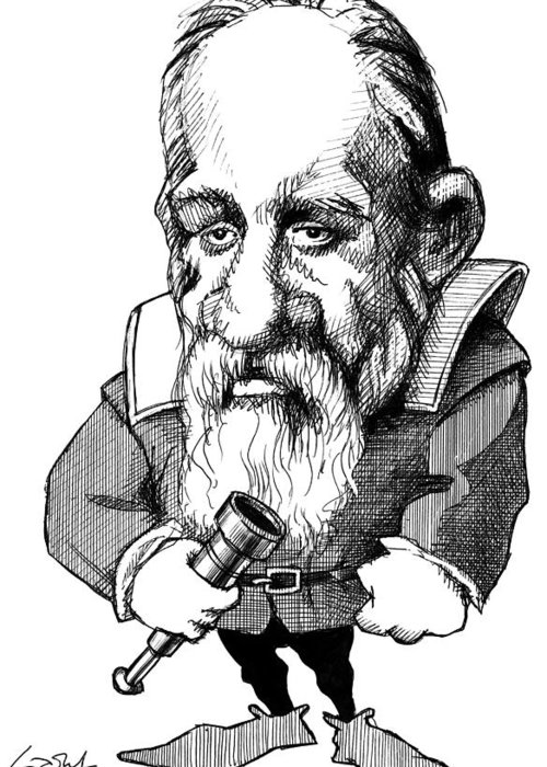 Galileo Galilei Greeting Card featuring the photograph Galileo Galilei, Caricature by Gary Brown