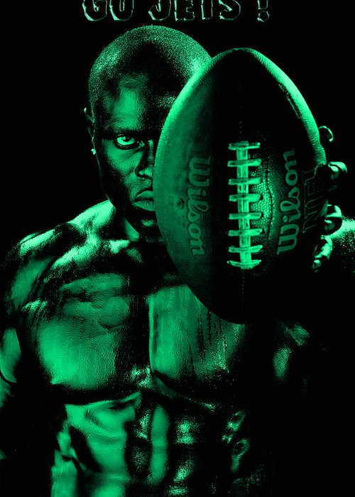 Football Greeting Card featuring the photograph Gang Green Challenge by Val Black Russian Tourchin