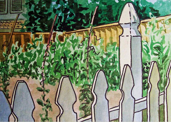 Garden Greeting Card featuring the painting Garden Fence Sketchbook Project Down My Street by Irina Sztukowski