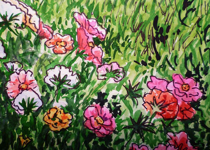 Flowers Greeting Card featuring the painting Garden Flowers Sketchbook Project Down My Street by Irina Sztukowski