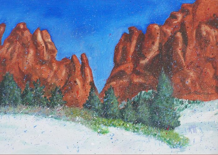 Landscape Greeting Card featuring the painting Garden Of The Gods 2 by Les Katt