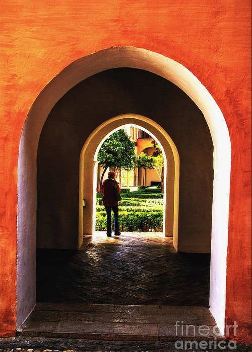 Spain Alhambra Arabic Arches Greeting Card featuring the photograph Garden Passage by Rick Bragan