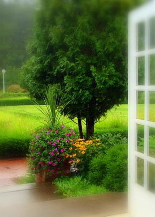 West Baden Springs Hotel Greeting Card featuring the photograph Garden Rain by Brandi Allbright