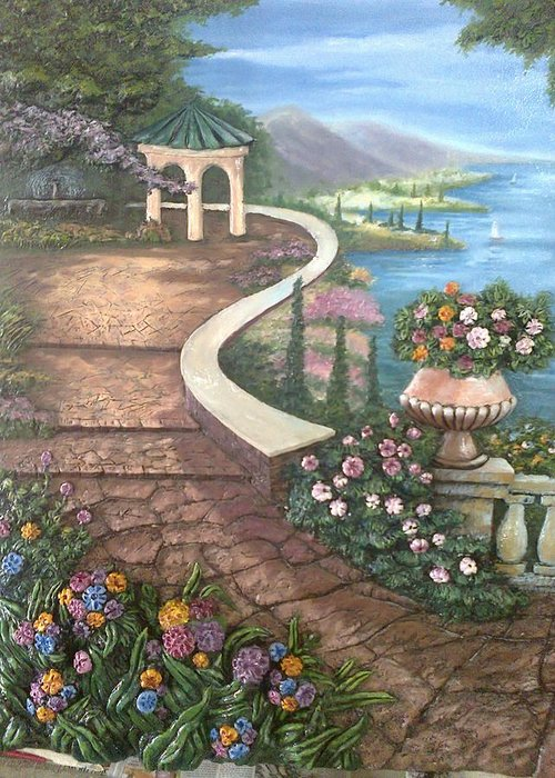 Landscape Greeting Card featuring the painting Garden View 3 by Prashant Hajare