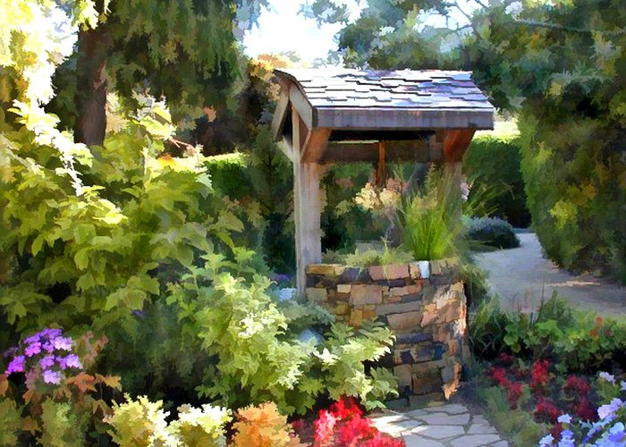 Greeting Card Featuring The Painting Garden Wishing Well By Elaine Plesser