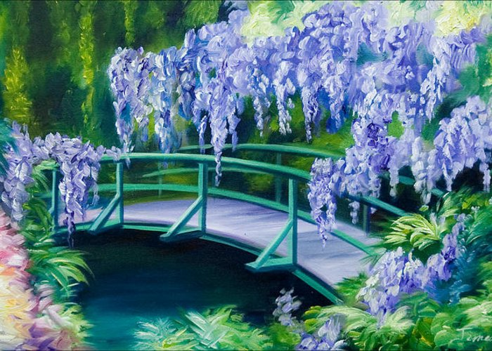Bright Clouds Greeting Card featuring the painting Gardens of Givernia II by James Christopher Hill