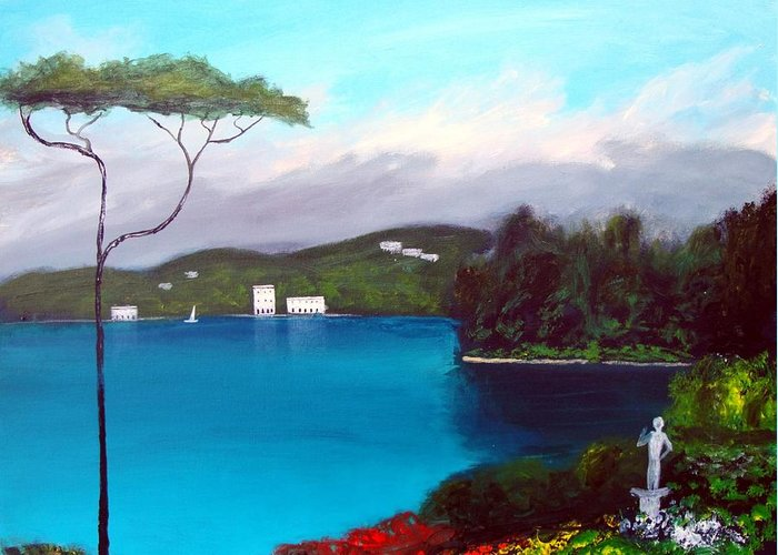 Lake Como Paintings Greeting Card featuring the painting Gardens Of Lake Como by Larry Cirigliano
