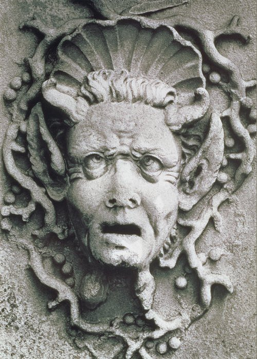 Grotesque; Monster; Monstrous; Head; Face; Sea Creature; Scallop Shell; Fantastical; Coral; Seaweed; Witch; Screaming; Bizarre; Horns; Pointed Ears; Demon; Siren; Cross-eyed; Mermaid Greeting Card featuring the photograph Gargoyle by Simon Marsden