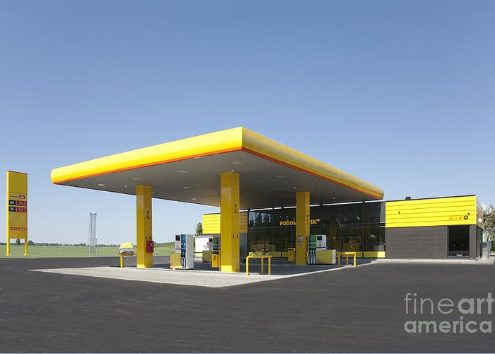 Blue Sky Greeting Card featuring the photograph Gas Station by Jaak Nilson