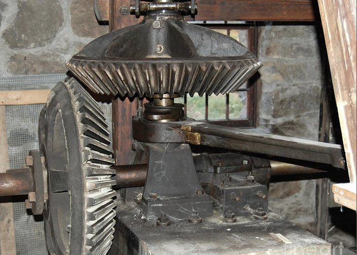 Grist Mill Greeting Card featuring the photograph Gears Of The Old Grist Mill by John Small