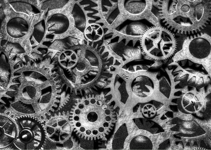 Hdr Greeting Card featuring the photograph Gears Of Time Black And White by David Paul Murray