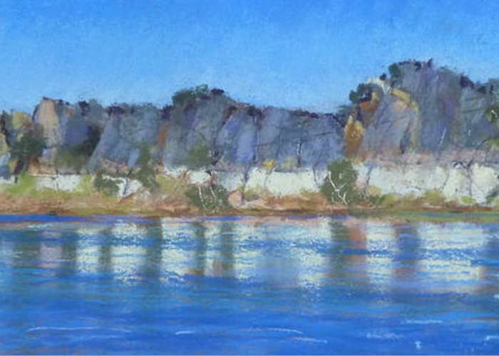 Geikie Gorge River Cruise Greeting Card featuring the pastel Geikie Gorge by Nadine Kelly