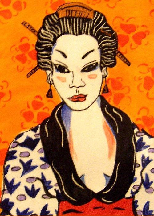 Print Greeting Card featuring the ceramic art Geisha No. 1 by Patricia Lazar