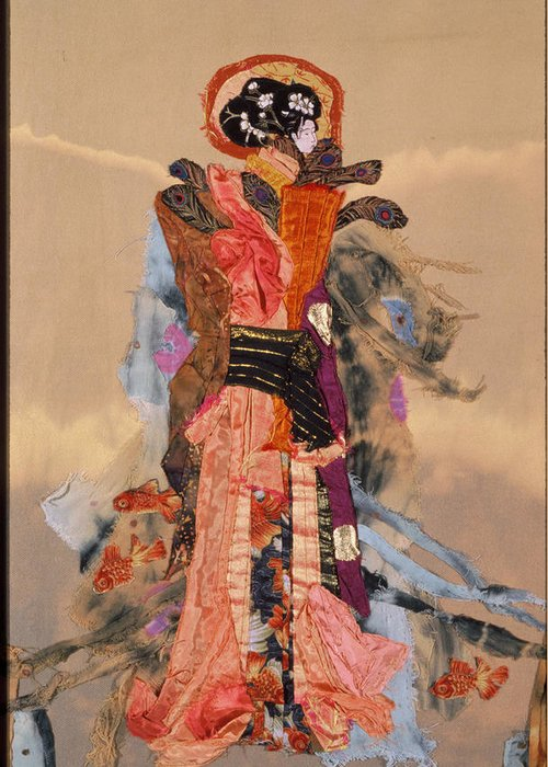 Quilt Greeting Card featuring the tapestry - textile Geisha by Roberta Baker