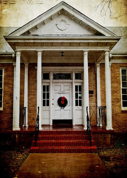 Door Greeting Card featuring the photograph Genealogical Library by Toni Hopper