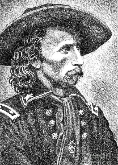Jim Bridger Greeting Card featuring the drawing General Custer by Gordon Punt