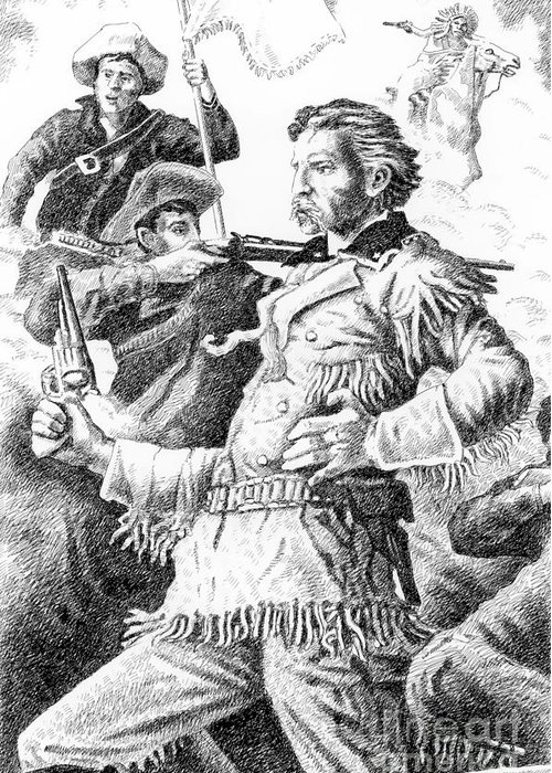 Jim Bridger Greeting Card featuring the drawing General Custer's Last Stand by Gordon Punt