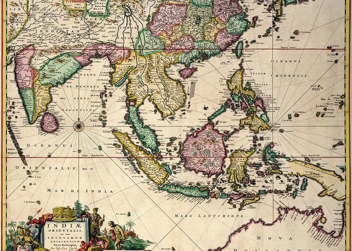 Maps Greeting Card featuring the drawing General Map Extending From India And Ceylon To Northwestern Australia By Way Of Southern Japan by Nicolaes Visscher Claes Jansz