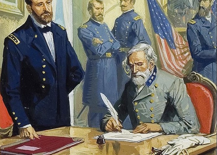Battle Of Gettysburg Greeting Card featuring the painting General Ulysses Grant Accepting The Surrender Of General Lee At Appomattox by Severino Baraldi