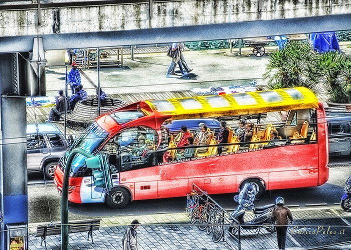 Genova Greeting Card featuring the photograph Genoa Sightseeing City Bus by Enrico Pelos