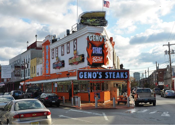 Geno's Steaks Greeting Card featuring the photograph Geno's Steaks - South Philadelphia by Bill Cannon