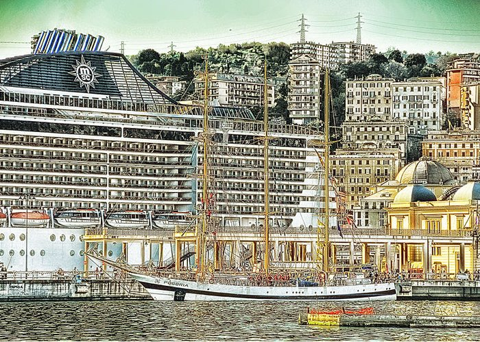Genova Greeting Card featuring the photograph Genova Cruising And Sailing Ships And Buildings Landscape by Enrico Pelos