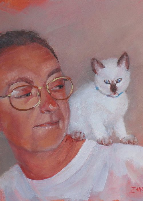 Portrait Greeting Card featuring the painting George And Doc by Laura Lee Zanghetti