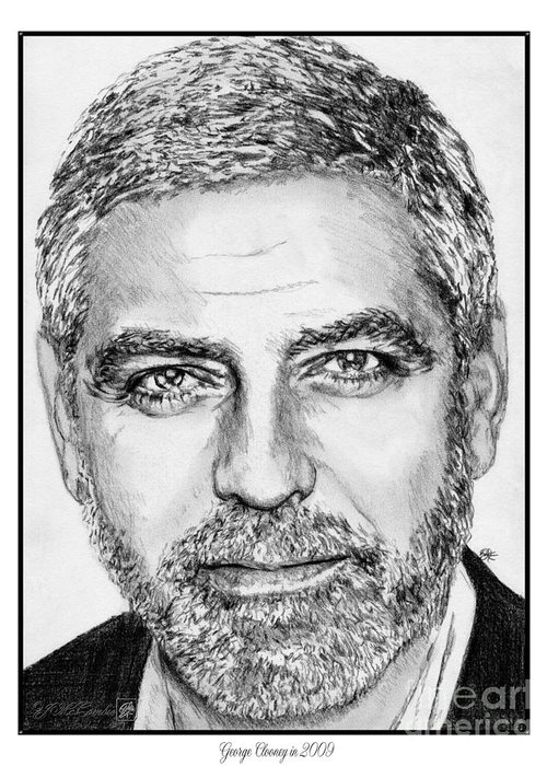 George Clooney Greeting Card featuring the drawing George Clooney In 2009 by J McCombie