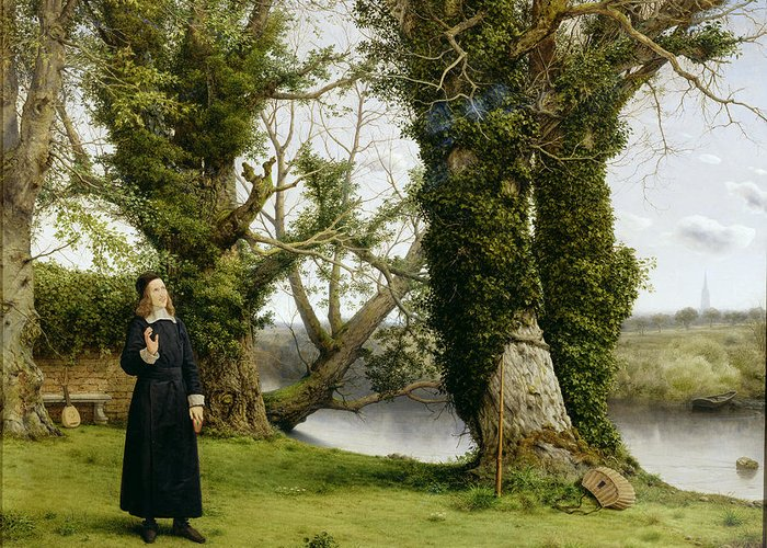 Landscape Greeting Card featuring the painting George Herbert At Bemerton by William Dyce