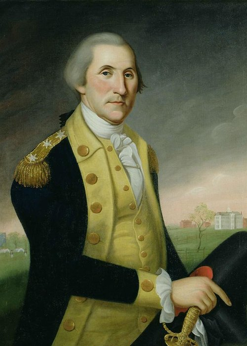 Male Greeting Card featuring the painting George Washington At Princeton by Charles P Polk