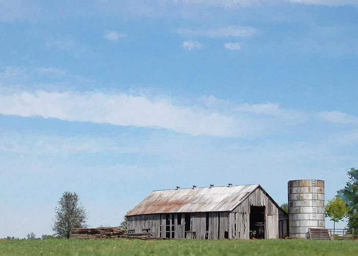 Barn Greeting Card featuring the digital art George's Barn by Christopher A Newman