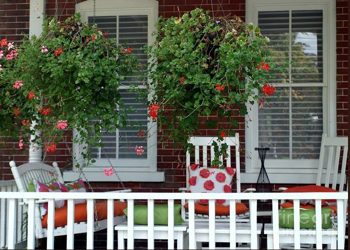 Porch Greeting Card featuring the photograph Geranium Good Times 2 by Living Color Photography Lorraine Lynch