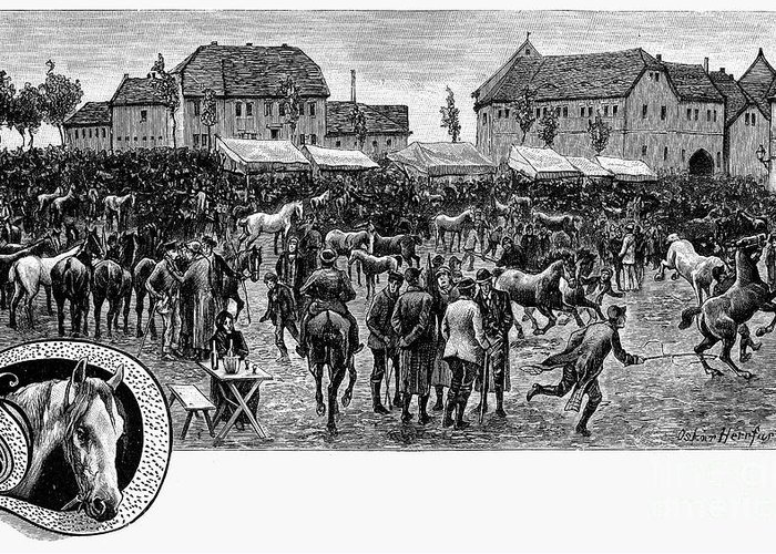19th Century Greeting Card featuring the photograph German Market, C1890 by Granger