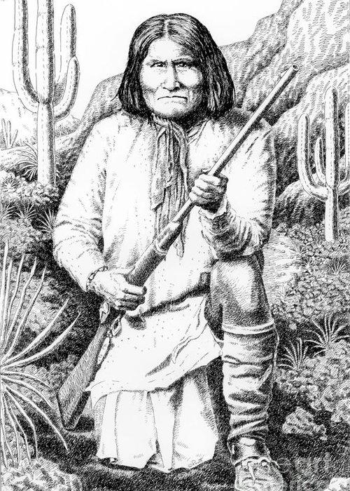 Jim Bridger Greeting Card featuring the drawing Geronimo by Gordon Punt