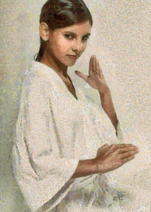 Woman Greeting Card featuring the digital art Gesture by Gun Legler