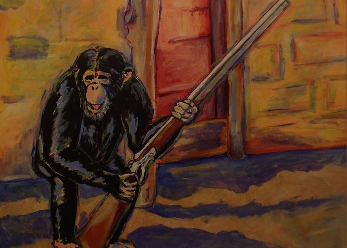 Chimpanzee Greeting Card featuring the painting Get Off My Property by Erin McNutt