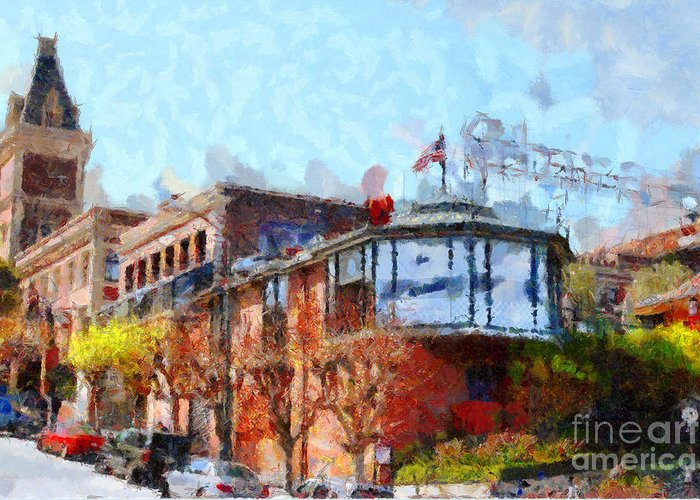 San Francisco Greeting Card featuring the photograph Ghirardelli Chocolate Factory San Francisco California . Painterly . 7d14093 by Wingsdomain Art and Photography