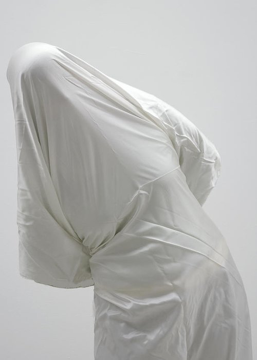 Ghost Greeting Card featuring the photograph Ghost - Person Covered With White Cloth by Matthias Hauser